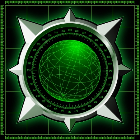 Radar screen  Digital globe inside steel compass rose  Vector EPS10  Vector