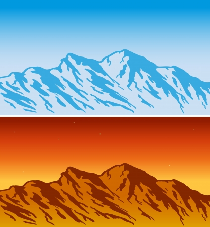 mountain view: Mountain range - day and evening view   illustration