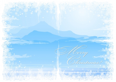 mountain view: Christmas background with snowflakes and mountain view   Illustration