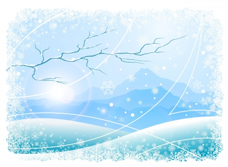Christmas background with snowflakes, mountains and tree  Vector