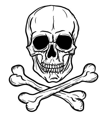 Schedel en Gekruiste knekels geïsoleerd op witte achtergrond Freehand tekening