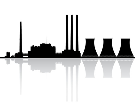 cooling towers: Silhouette of a power plant  Vector illustration