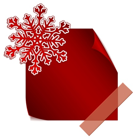 Red paper snowflake over red paper sticker Stock Vector - 16702265