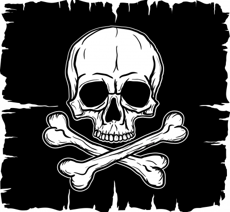 Skull and Crossbones over black flag  Freehand drawing
