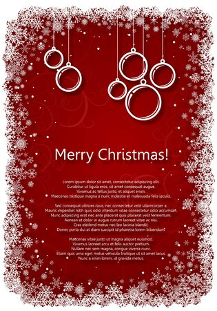 Red Christmas background with snowflakes and balls  Vector