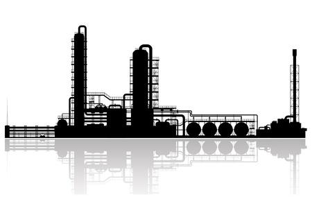Olie Raffinaderij Plant Silhouet illustratie Stock Illustratie