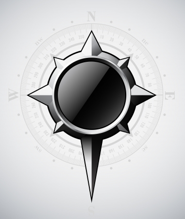 Steel compass rose with scale illustration  Vector