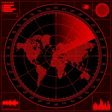 Radar screen with world map