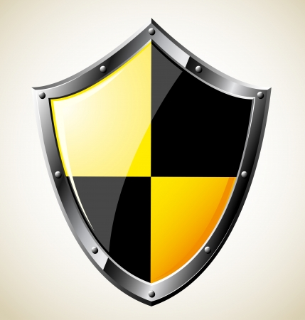 medieval banner: Steel glossy shield  Vector EPS8