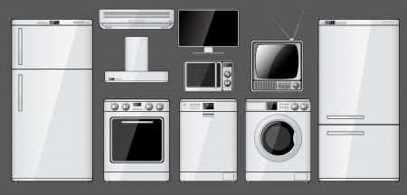 Set of realistic household appliances  Vector illustration