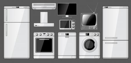 Set van realistische huishoudelijke apparaten Vector illustratie