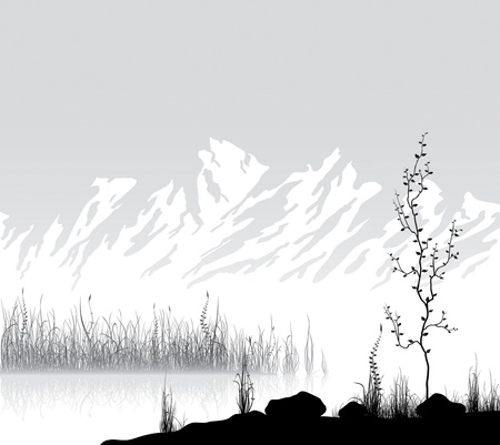 Landscape with mountain range near lake  Vector illustration