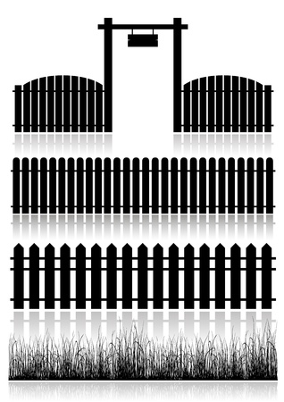 front gate: Set of Fences, Gate and grass - black isolated on white  Vector illustration