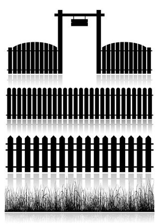 hoog gras: Set van Hekken, Gate en gras - zwart op wit wordt geïsoleerd Vector illustratie