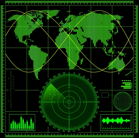 Radar screen with world map  Vector EPS10