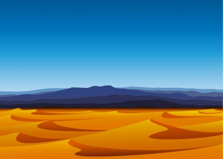 Warm day in barren desert with yellow sand dunes and blue mountains Ilustração