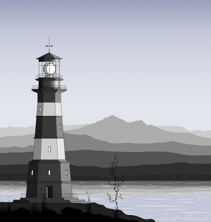 Landscape with detailed lighthouse, mountain range and sea Vector