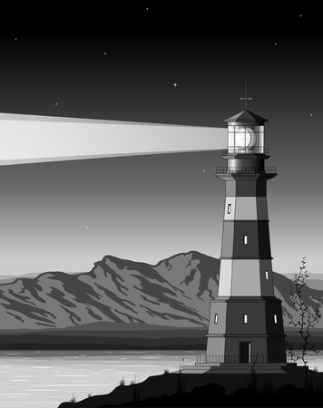 Night  landscape with detailed lighthouse, mountains and sea. Vector illustration Vector