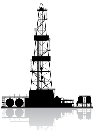 Oil rig silhouette  Detailed vector illustration isolated on white background  Ilustração
