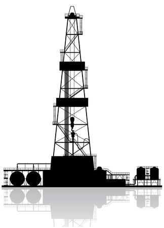 torres petroleras: Plataforma petrolera silueta ilustración vectorial detallada aislados en fondo blanco