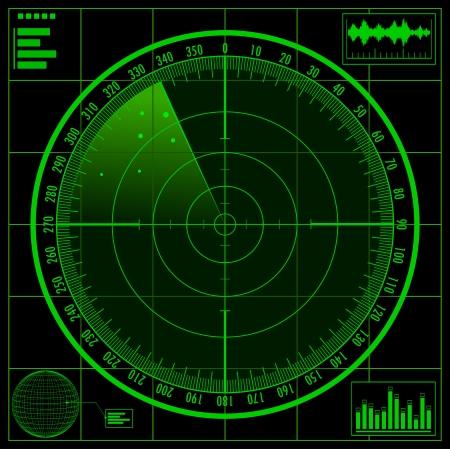 レーダー スクリーン  イラスト・ベクター素材