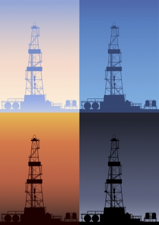 derrick: Oil rig at different times of the day. Detailed vector illustration.