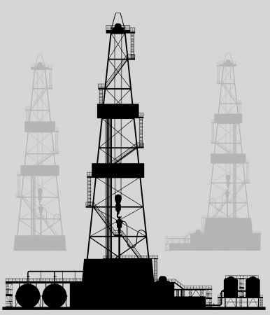 derrick: Oil rigs silhouette. Detailed vector illustration.