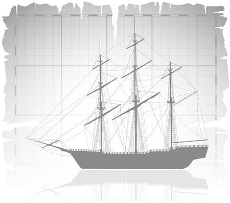vecchia nave: Vecchia nave su mappa antica con griglia. Illustrazione di vettore.
