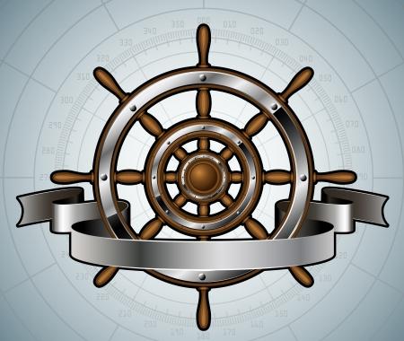Schip stuurwiel met banner Vector illustratie