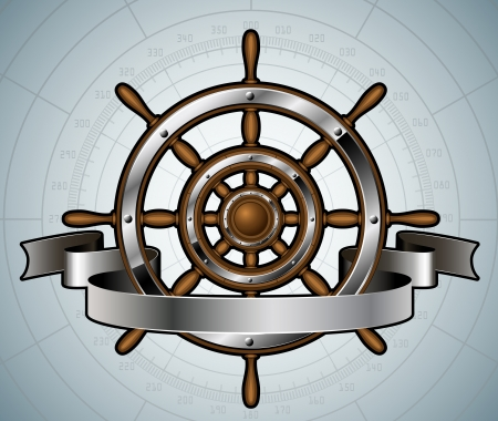 Ship steering wheel with banner  Vector illustration