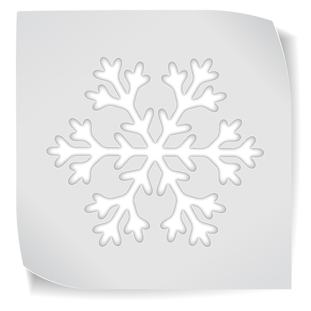 snowflacke: Paper sticker with snowflacke isolated on white.