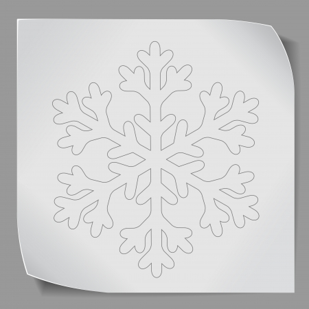 snowflacke: Paper sticker with snowflacke over gray background. Vector EPS10.