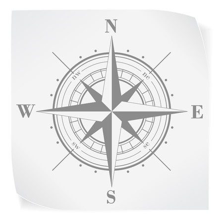 windrose: Compass rose over white paper sticker isolated on white