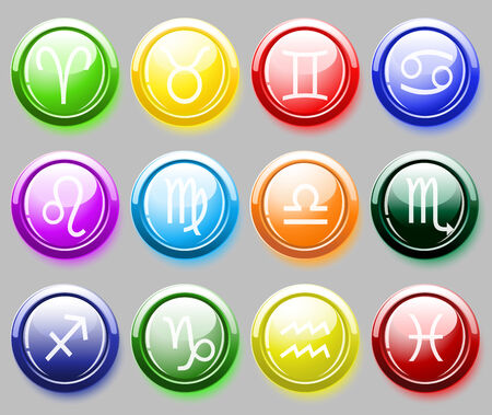 Glossy colorer buttons with zodiac signs over gray    Vector