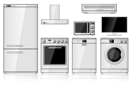 Set van realistische huishoudelijke apparaten op wit wordt geïsoleerd