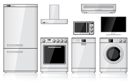 Set van realistische huishoudelijke apparaten op wit wordt geïsoleerd Stockfoto - 25519921