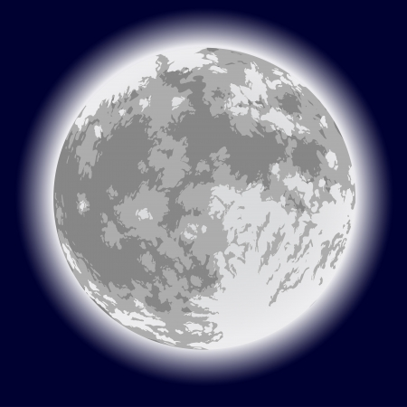 craters: Full moon  Freehand drawing  Detailed illustration