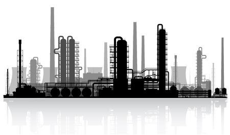 石油精製所や化学プラントのシルエット