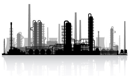 to plant structure: Oil refinery or chemical plant silhouette