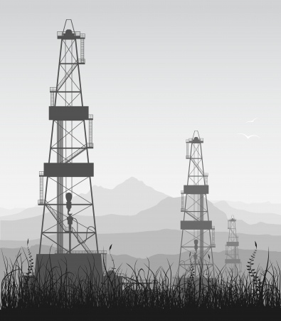 Landscape with oil rigs over mountain range  Detailed illustration   Vector