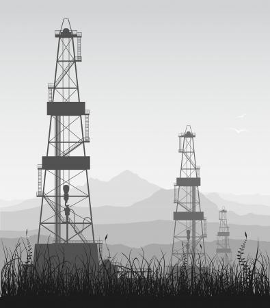 crude: Landscape with oil rigs over mountain range  Detailed illustration   Illustration