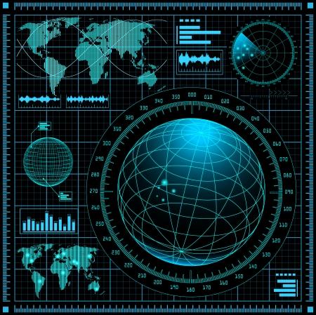 sonar: Schermo radar con mappa del mondo Vettoriali