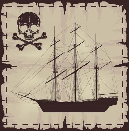 large skull: Large ship and skull over old paper   Illustration