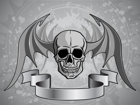 Human skull with wings and ribbon over grunge