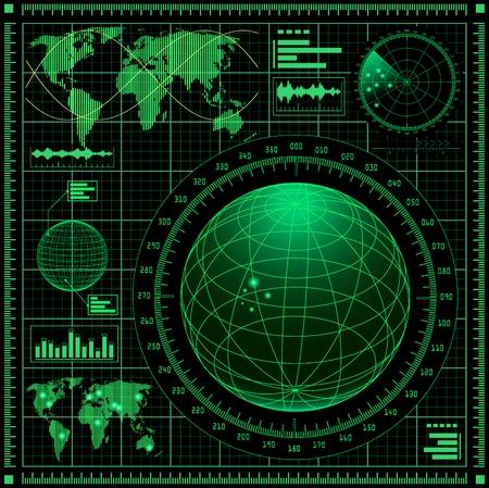 世界地図でレーダー スクリーン。  イラスト・ベクター素材