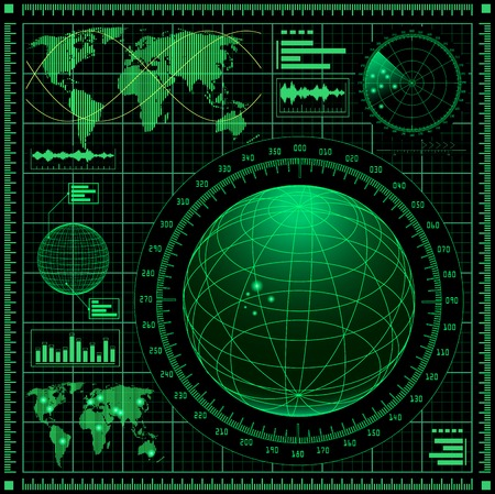 sonar: Schermo radar con mappa del mondo. Vettoriali