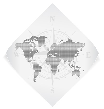 windrose: World map over white paper sticker isolated on white.