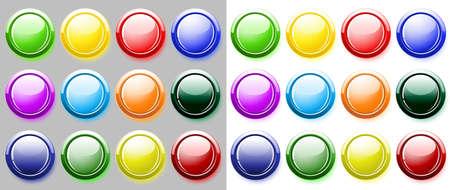 glossy buttons: Lucida pulsanti isolato su bianco Archivio Fotografico