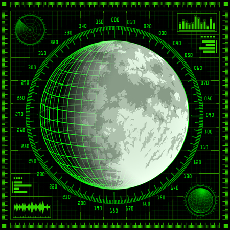 detect: Radar screen with Moon.