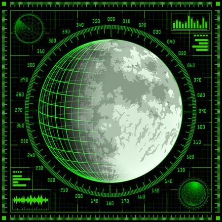 Radar screen with Moon.  photo